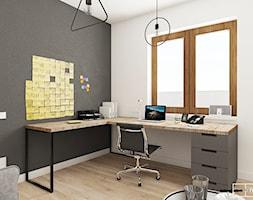 dom pod Warszawą - Średnie szare białe biuro domowe kącik do pracy w pokoju, styl nowoczesny - zdjęcie od Twój Kwadrat