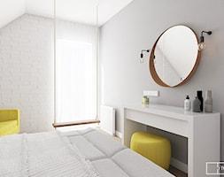 dom pod Warszawą - Mały biały szary pokój dziecka dla chłopca dla dziewczynki dla ucznia dla nastolatka, styl nowoczesny - zdjęcie od Twój Kwadrat