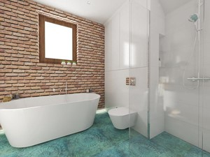 dom pod Warszawą - Średnia biała łazienka w bloku w domu jednorodzinnym z oknem, styl nowoczesny - zdjęcie od Twój Kwadrat