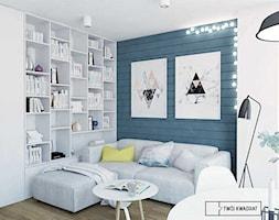 mieszkanie w Warszawie - Mały kolorowy salon z bibiloteczką z jadalnią, styl skandynawski - zdjęcie od Twój Kwadrat - Homebook