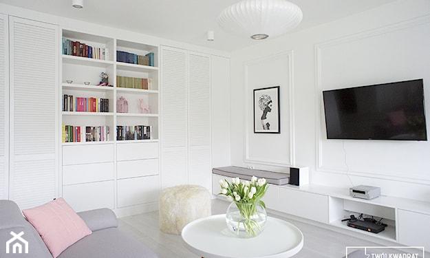 pastelowy salon w stylu nowoczesnym