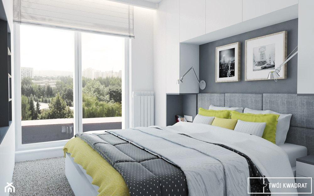 mieszkanie_Warszawa Praga - Średnia szara sypialnia małżeńska z balkonem / tarasem, styl nowoczesny - zdjęcie od Twój Kwadrat - Homebook