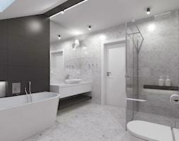 Projekt domu 2 - Średnia biała czarna szara łazienka na poddaszu z oknem - zdjęcie od MalgorztaLen - Homebook