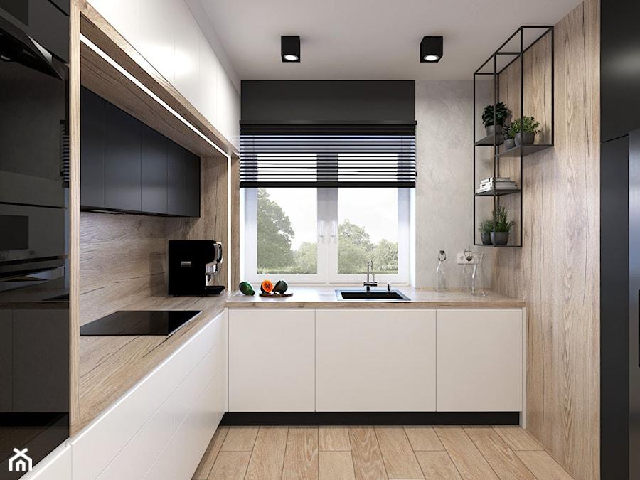 Projekt domu - Średnia zamknięta szara kuchnia w kształcie litery l z oknem - zdjęcie od MalgorztaLen