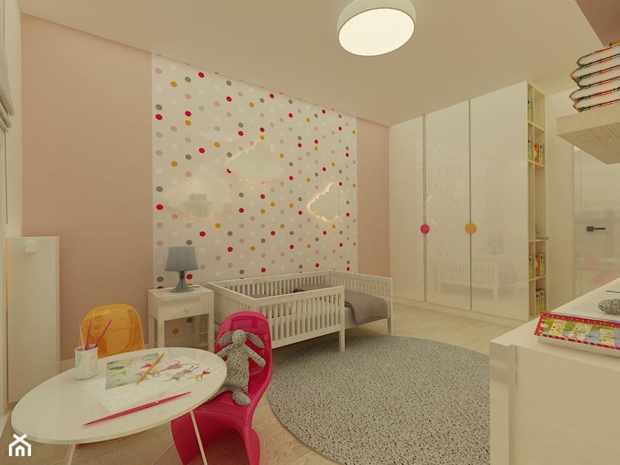 Mieszkanie na Młocinach - Mały biały pastelowy różowy kolorowy pokój dziecka dla dziewczynki dla malucha, styl nowoczesny - zdjęcie od Katarzyna Jaskulska Projektowanie Wnętrz