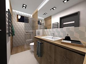 ŁAZIENKA STYL NOWOCZESNY - Średnia biała łazienka na poddaszu w bloku w domu jednorodzinnym z oknem, styl nowoczesny - zdjęcie od Aneta Kubica-Łubiarz