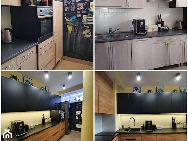 Kuchnia czarny mat & drewno