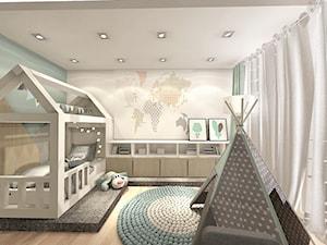 pokój dziecka - Mały szary zielony pokój dziecka dla chłopca dla dziewczynki dla niemowlaka, styl nowoczesny - zdjęcie od Art Design Studio