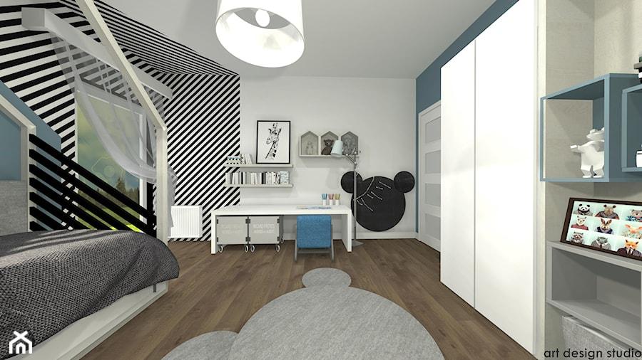 Pokój chłopca - Duży szary niebieski pokój dziecka dla chłopca dla dziewczynki dla ucznia dla nastolatka, styl skandynawski - zdjęcie od Art Design Studio