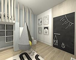 Pokój chłopca z łóżkiem na anstresoli - Średni szary pokój dziecka dla chłopca dla dziewczynki dla ucznia dla malucha, styl nowoczesny - zdjęcie od Art Design Studio