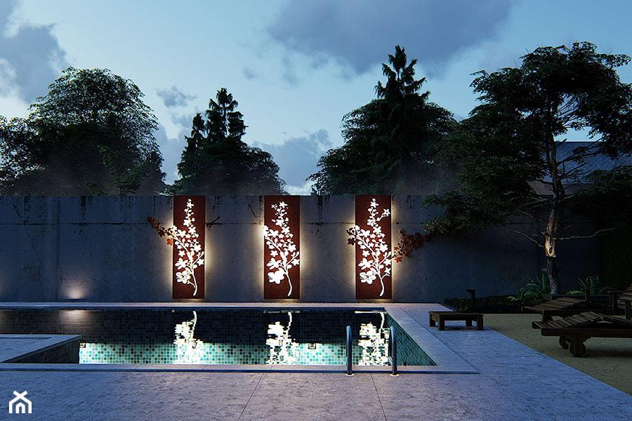 Panele z Cor-ten, poświetlane - zdjęcie od Projektowanie ogrodów w nowoczesnym stylu na terenie całej PL