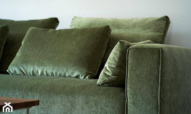 sofa w zielonym obiciu