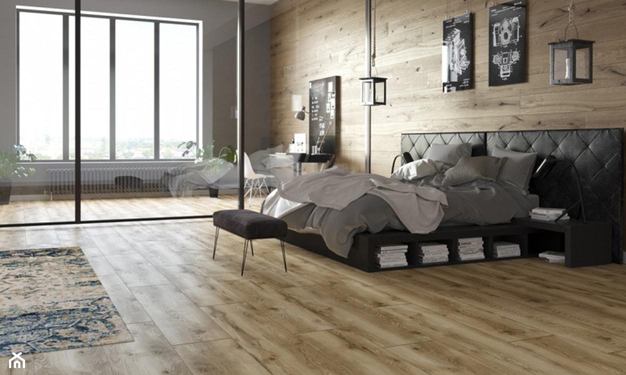 panele drewnopodobne winylowe, panele na podłodze, nowoczesna sypialnia