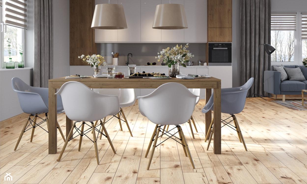 panele drewnopodobne winylowe, panele na podłodze, nowoczesna jadalnia