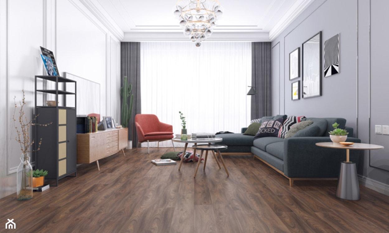 panele drewnopodobne winylowe, panele na podłodze, nowoczesny salon