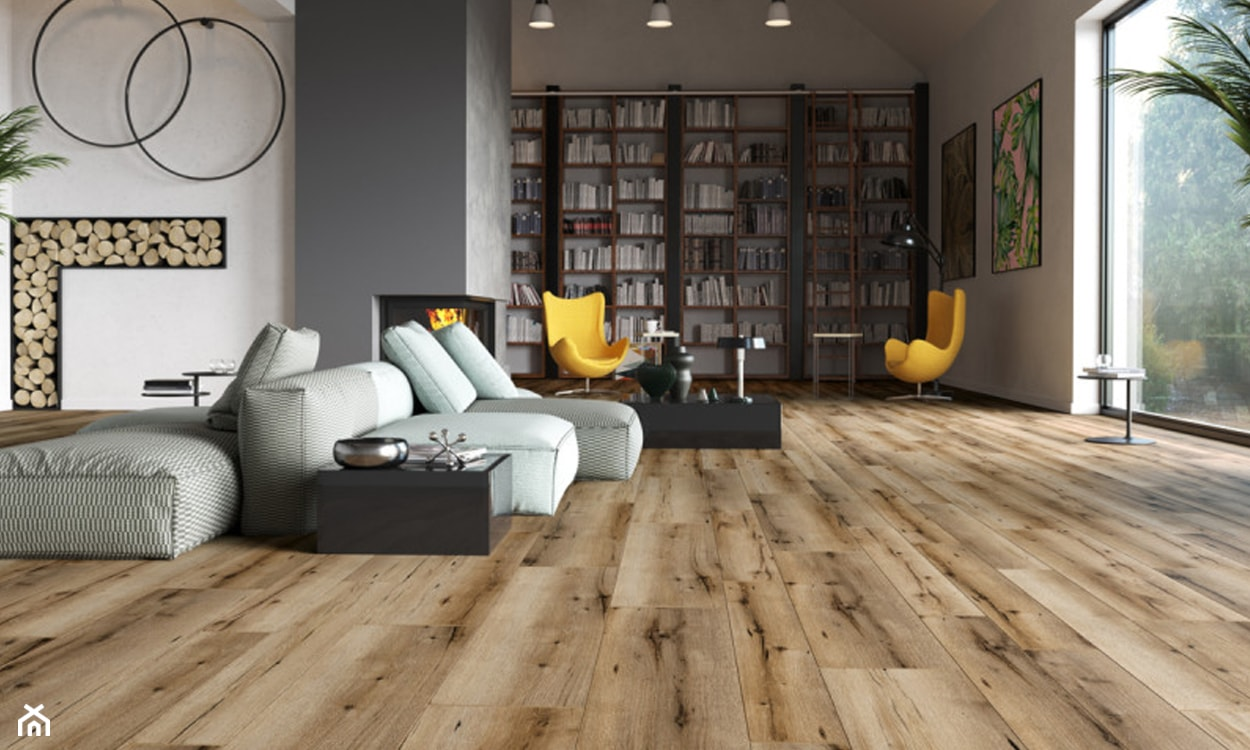 panele winylowe na podłodze, drewniane panele, nowoczesny salon