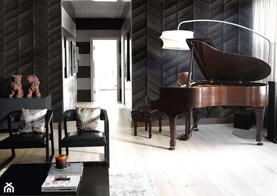 panele 3D na ścianie w salonie