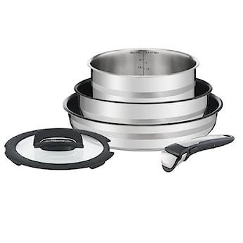 Zestaw patelni i rondli TEFAL INGENIO JAMIE OLIVER 20/24/28cm+pokrywka+odłączana rączka