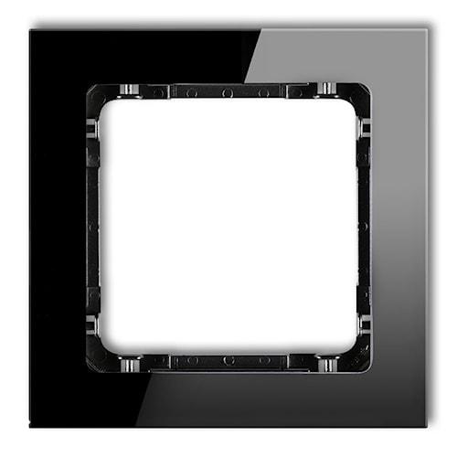 KARLIK Ramka uniwersalna pojedyncza - efekt szkła (ramka: czarna; spód: czarny)