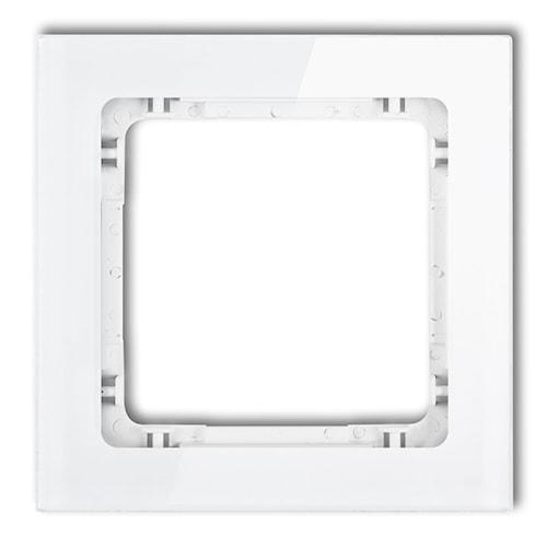 KARLIK Ramka uniwersalna pojedyncza - efekt szkła (ramka: biała; spód: biały)
