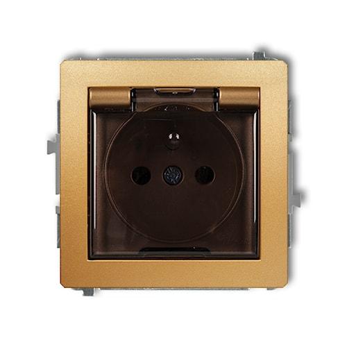 KARLIK Mechanizm gniazda bryzgoszczelnego z uziemieniem 2P+Z (klapka dymna, przesłony torów prądowych)
