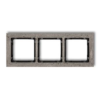 KARLIK Ramka uniwersalna potrójna - beton (ramka: ciemnoszary; spód: czarny)