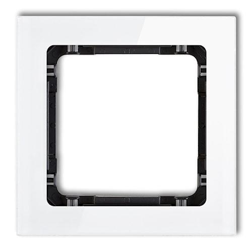 KARLIK Ramka uniwersalna pojedyncza - efekt szkła (ramka: biała; spód: czarny)