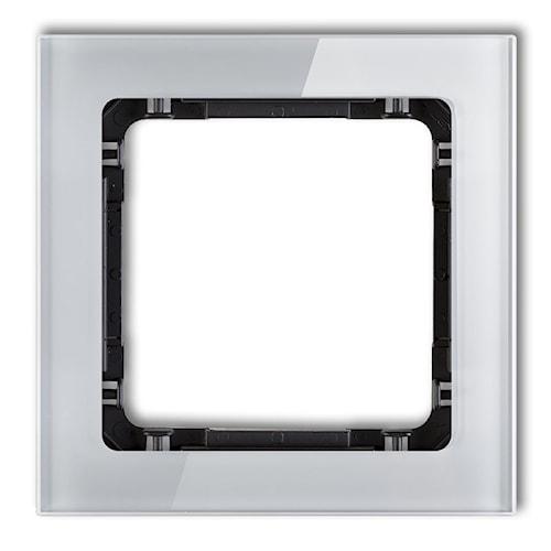 KARLIK Ramka uniwersalna pojedyncza - efekt szkła (ramka: szara; spód: czarny)