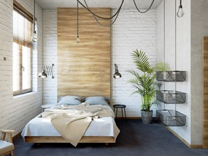 Sypialnia z łóżkiem małżeńskim w pokoju hostelowym. - zdjęcie od COME HOME architects