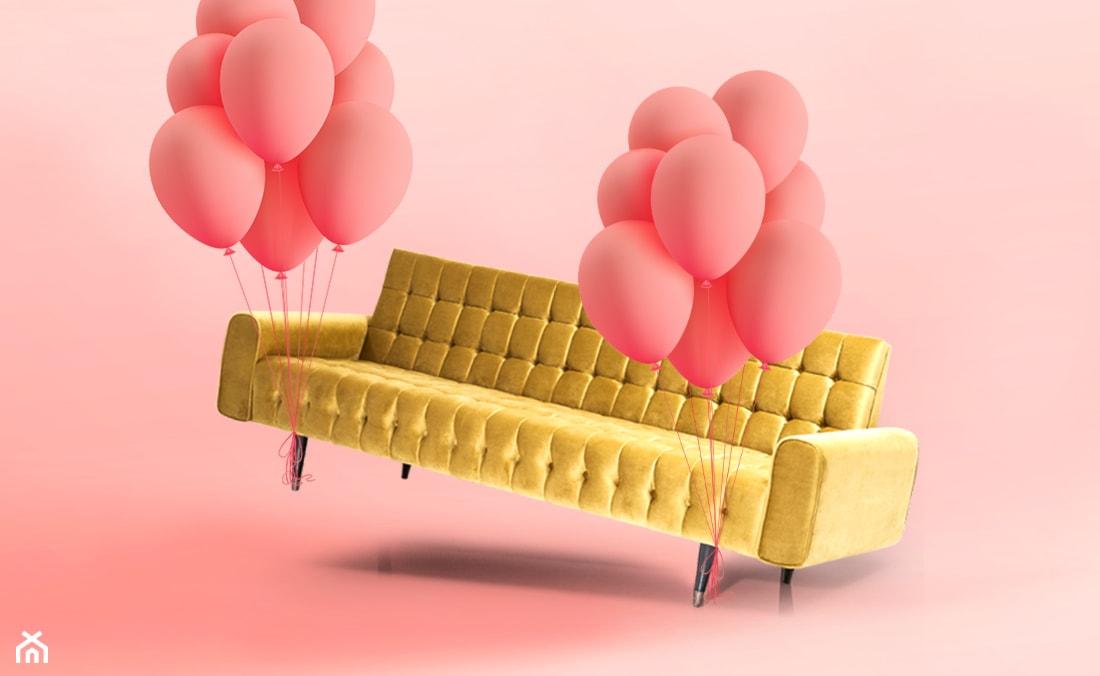 żółta pikowana sofa