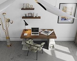 Małe białe biuro pracownia kącik do pracy, styl nowoczesny - zdjęcie od sfmeble.pl
