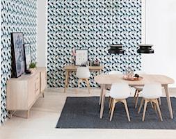 Mała otwarta turkusowa jadalnia w salonie, styl vintage - zdjęcie od sfmeble.pl