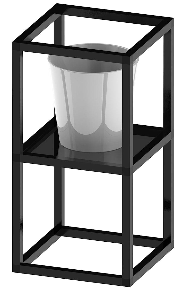 Kwietnik 300x300x560 z półką szklaną hartowaną antisol grafit - zdjęcie od Alus Sp z o o