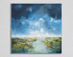Rozlewisko - 90x90 cm - ręcznie malowany obraz na płótnie - zdjęcie od Studio Plama - Agnieszka Potocka-Makoś - Homebook