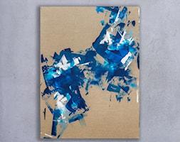 Niebieski len - 90x120 cm - ręcznie malowany obraz na płótnie lnianym - zdjęcie od Studio Plama - Agnieszka Potocka-Makoś - Homebook