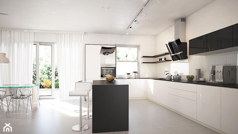 Nowoczesna kuchnia w stylu skandynawskim z okapem kuchennym Altemo GLOBALO  -> Kuchnia W Bloku W Stylu Skandynawskim