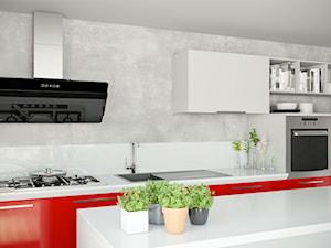 Biało czerwona kuchnia z betonem architektonicznym i okapem Merto Black 90