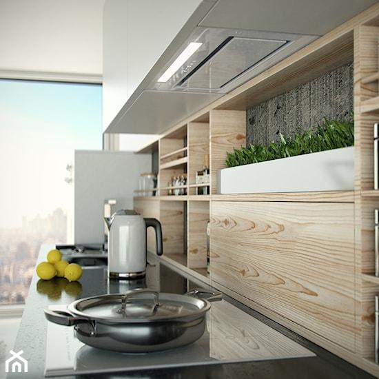 Jasna nowoczesna kuchnia w stylu minimalistycznym   -> Kuchnia Z Okapem