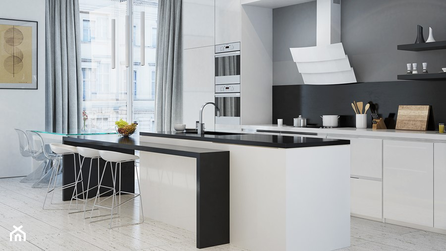 Biała otwarta kuchnia z wyspą w stylu nowoczesnym z okapem   -> Kuchnia Z Wyspa Okap