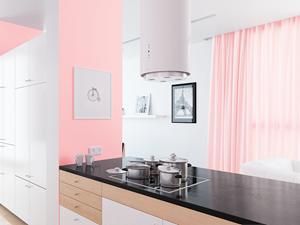 Kuchnia otwarta na salon w stylu Pantone Rose Quartz