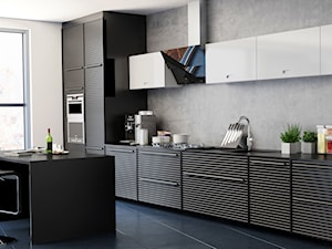 Nowoczesna przestronna kuchnia w grafitach, czerni i bieli