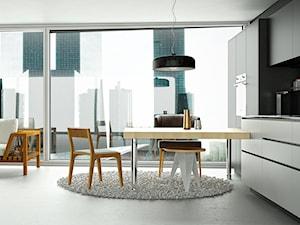 Apartament z otwartą kuchnią w stylu minimalistycznym z okapem do zabudowy Loteo Grey