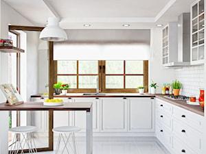Biała klasyczna kuchnia z drewnianym blatem i okapem Nomina