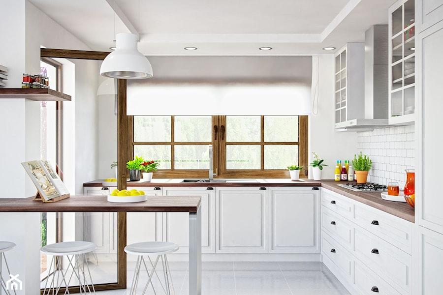 klasyczna kuchnia z drewnianym blatem oraz okapem nomina zdj cie od okapy kuchenne. Black Bedroom Furniture Sets. Home Design Ideas