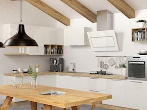 Skandynawska kuchnia na poddaszu z okapem Altara White