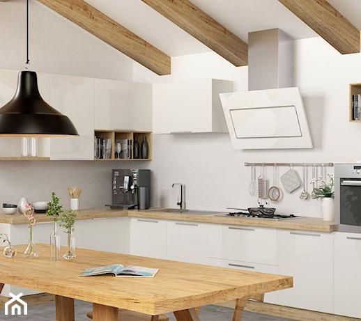 Skandynawska kuchnia na poddaszu z okapem Altara White   -> Kuchnie Na Poddaszu Aranzacje
