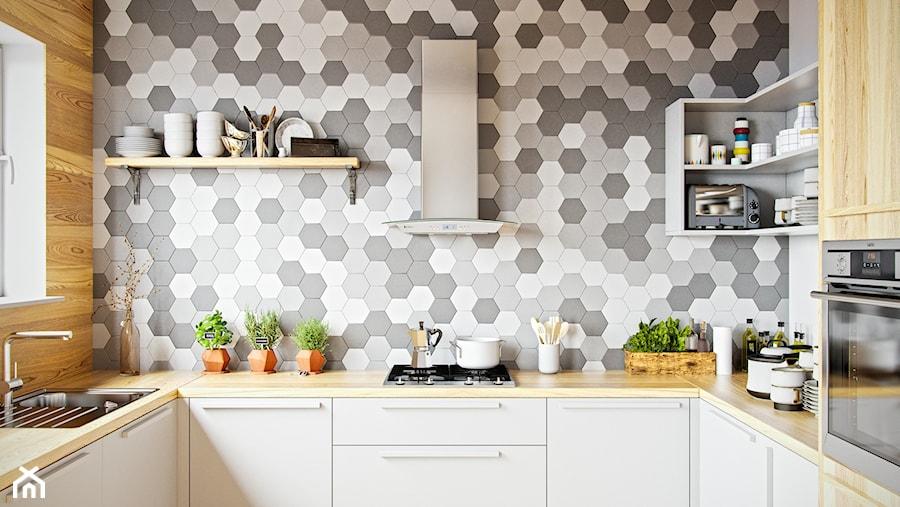 Skandynawska kuchnia z mozaiką i drewnem oraz okapem Divida Inox marki GLOBALO - zdjęcie od Okapy kuchenne