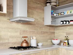 Jasna kuchnia w drewnie z okapem Divida White