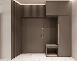 Apartament w Warszawie - Średni brązowy szary hol / przedpokój, styl nowoczesny - zdjęcie od OSOM.
