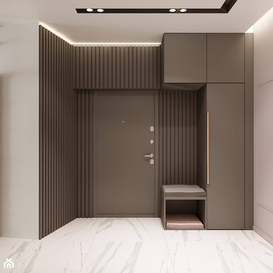 Aranżacje wnętrz - Hol / Przedpokój: Apartament w Warszawie - Średni brązowy szary hol / przedpokój, styl nowoczesny - OSOM.. Przeglądaj, dodawaj i zapisuj najlepsze zdjęcia, pomysły i inspiracje designerskie. W bazie mamy już prawie milion fotografii!